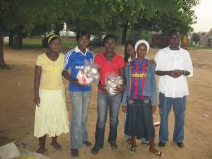 Kano U15 girls football team with new Ball Project soccer balls