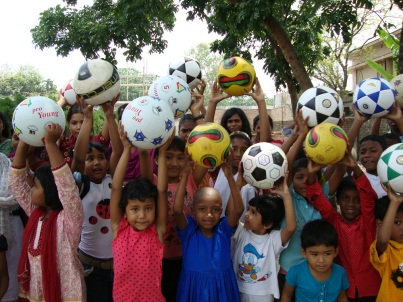 New soccer balls = happy kids in Bangladesh