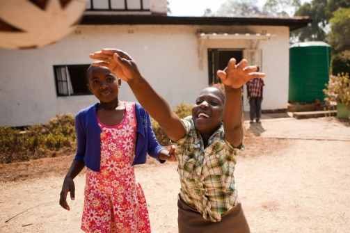 Children in Zimbabwe playing with a Ball Project ball