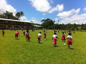 New soccer balls = happy girls in Fiji