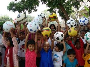 New soccer balls = happy kids in Bangladesh