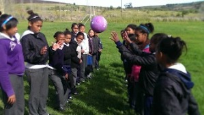 South African girls at a Netball clinic