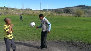 South African boy at a soccer clinic