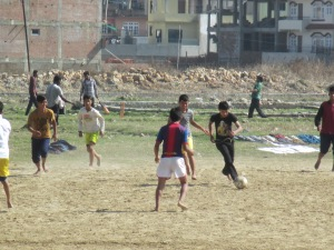 Kids playing soccer in Kathmandu