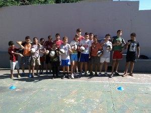 Brazilian kids with soccer balls