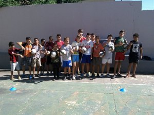 Brazilian kids with soccer balls