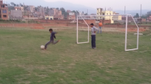 Ball Project soccer goal in Nepal in action