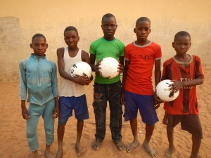 Kids in Kwalli, Nigeria with new soccer balls