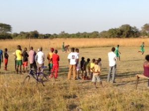 Soccer game in Zambia using a Ball Project ball