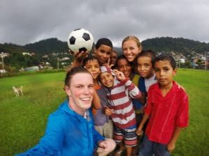 Hoosiers in Brazil with Ball Project ball & Brazilian kids
