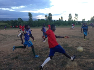Soccer players in Haiti