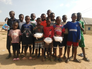 Nigerian kids with new Ball Project soccer balls