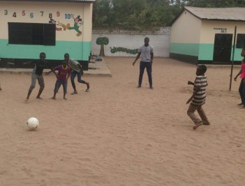 Street kids in Gambia playing football with BP balls