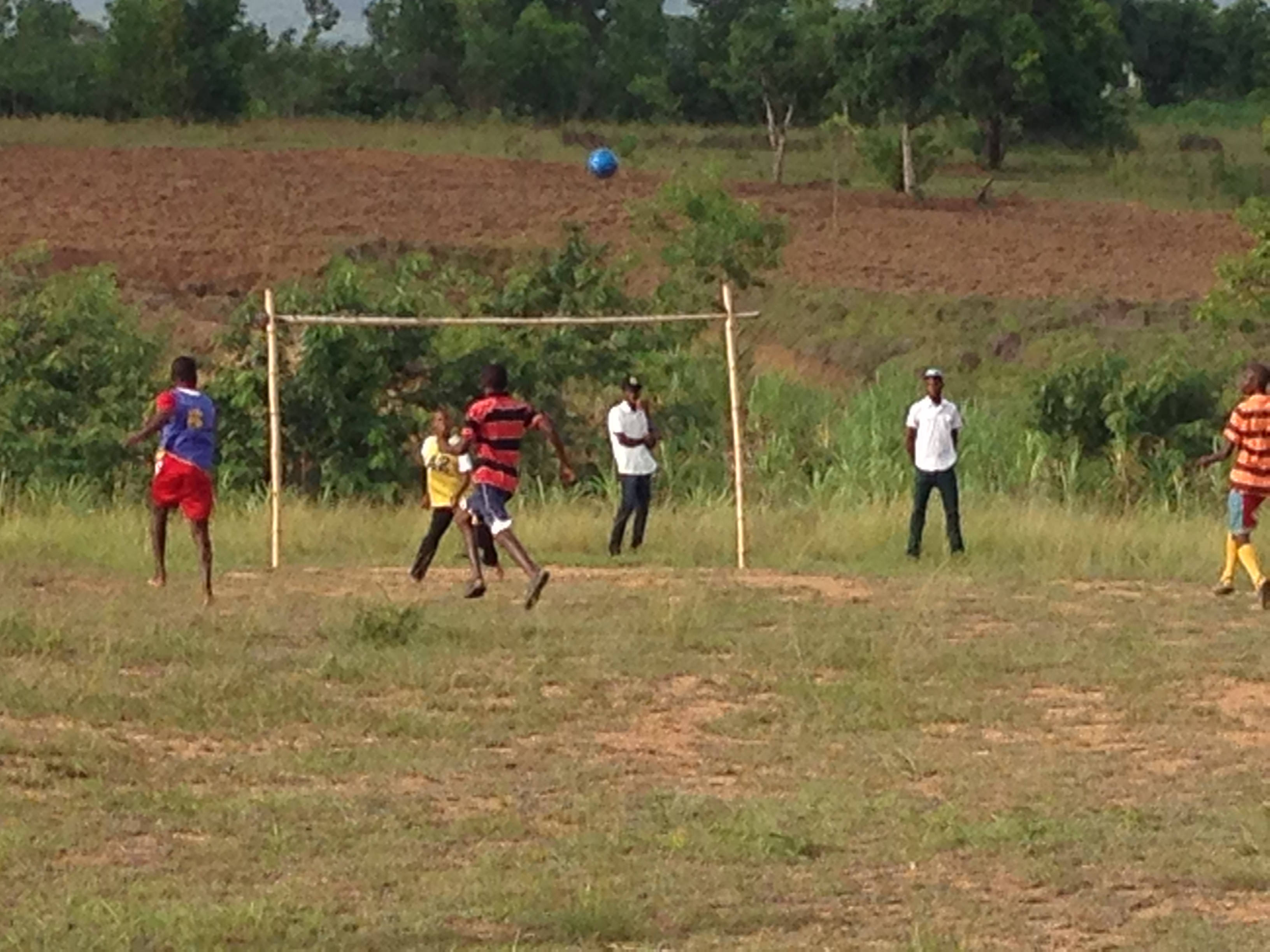 Soccer in Haiti with a Ball Project soccer ball & handmade goals 2014